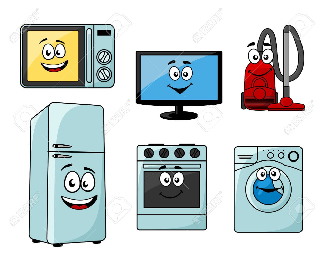Cartoon Household Appliances Set With Microwave, TV, Vacuum Cleaner,..  Royalty Free Cliparts, Vectors, And Stock Illustration. Image 31200115.