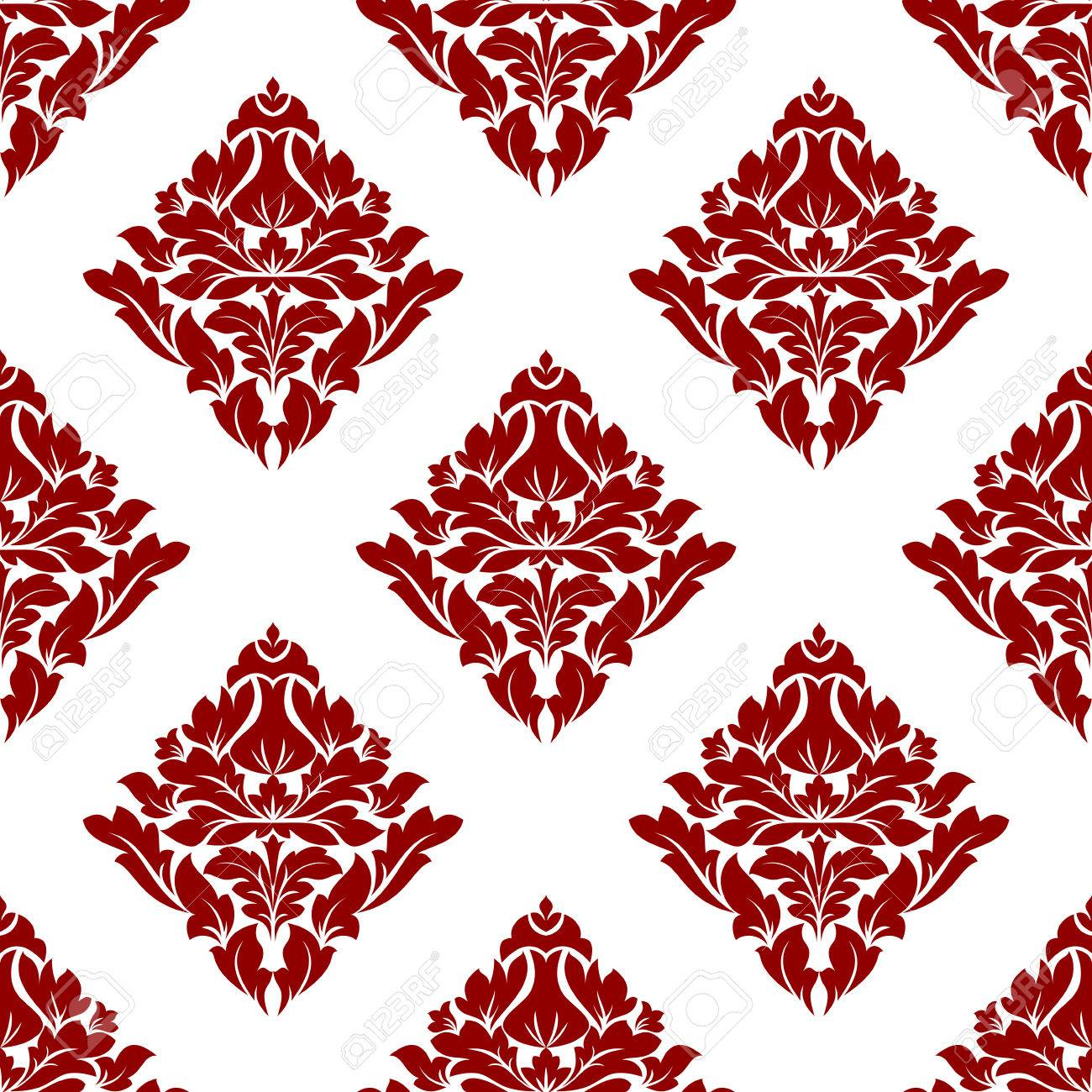 Floral Seamless Pattern With Maroon Or Crimson Or Dark Red Flowers ...