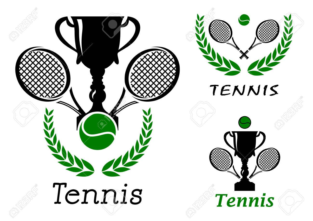 tennis sporting emblems or logos set with ball trophy cup crossed rh 123rf com tennis racket brand logos tennis racquet logos