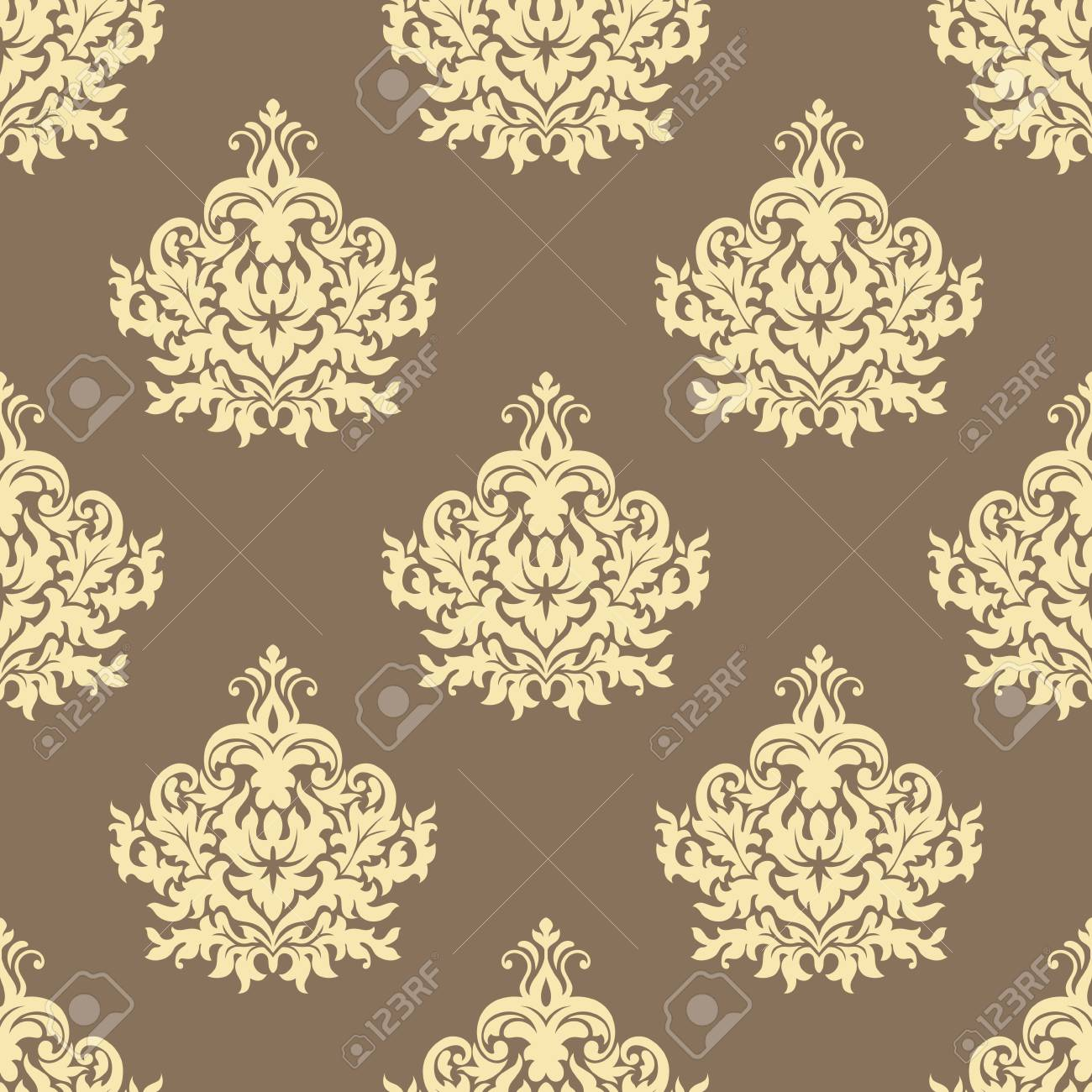 Floral Retro Yellow Floral Seamless Pattern On Light Brown Colored