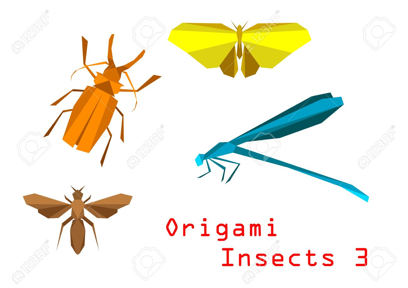 Origami paper insects with beetle butterfly bee dragonfly origami paper insects with beetle butterfly bee dragonfly isolated on white background foto jeuxipadfo Image collections