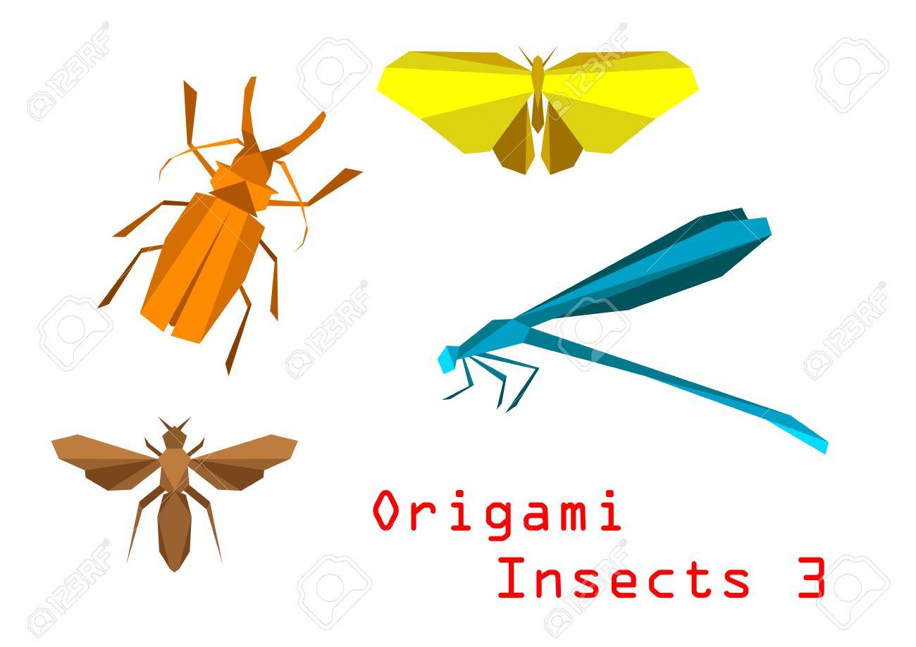 Origami Papier Mit Insekten Käfer Schmetterling Biene Libelle