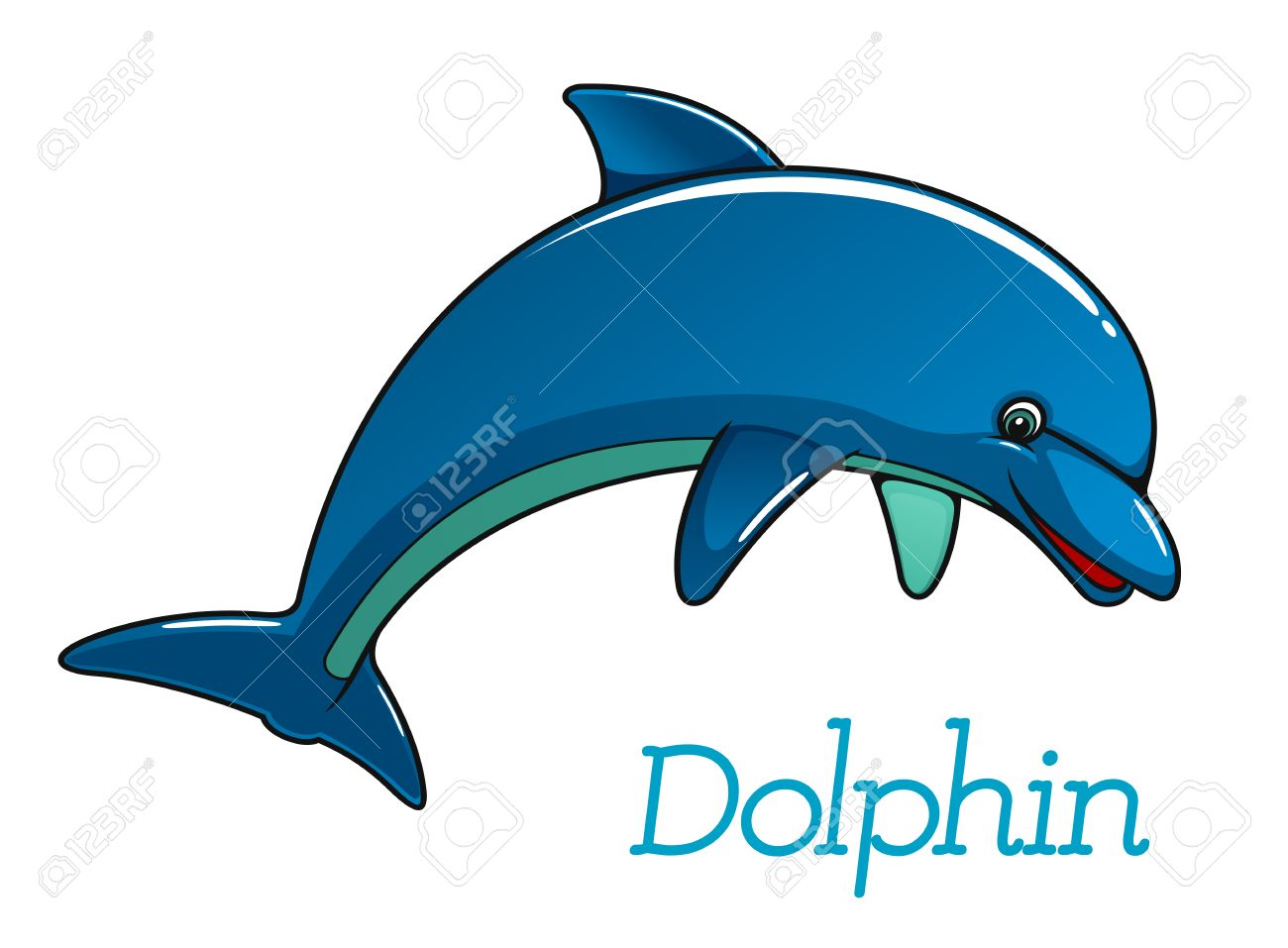 Cute cartoon dolphin jumping in sea water for kids illustration cute cartoon dolphin jumping in sea water for kids illustration and wildlife design stock vector voltagebd Images