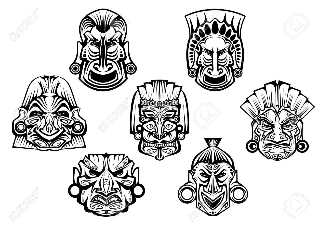 religious masks in ancient tribal style isolated on white for