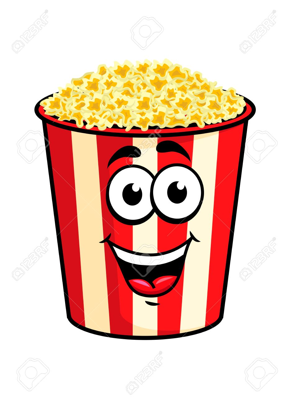 Cartoon Happy Cute Popcorn Character For Fastfood Design Royalty