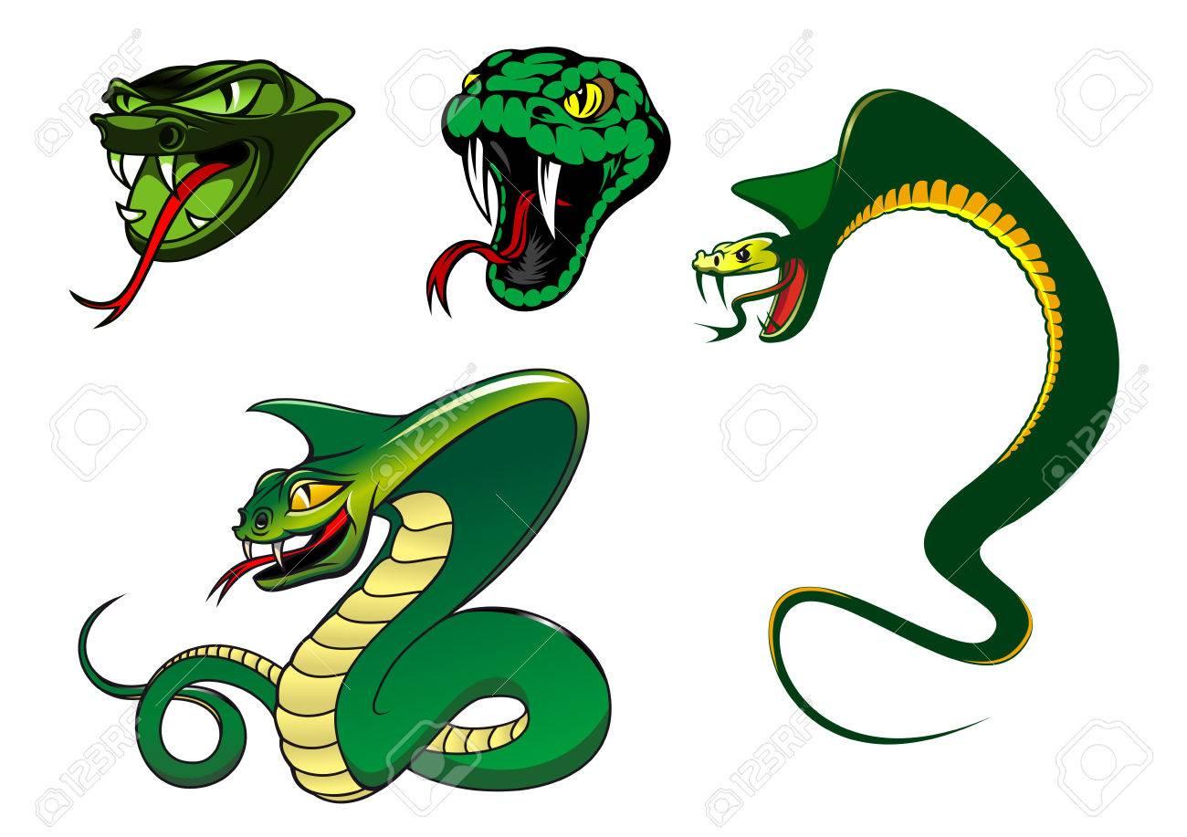 personajes de dibujos animados de serpientes furiosas verde para los
