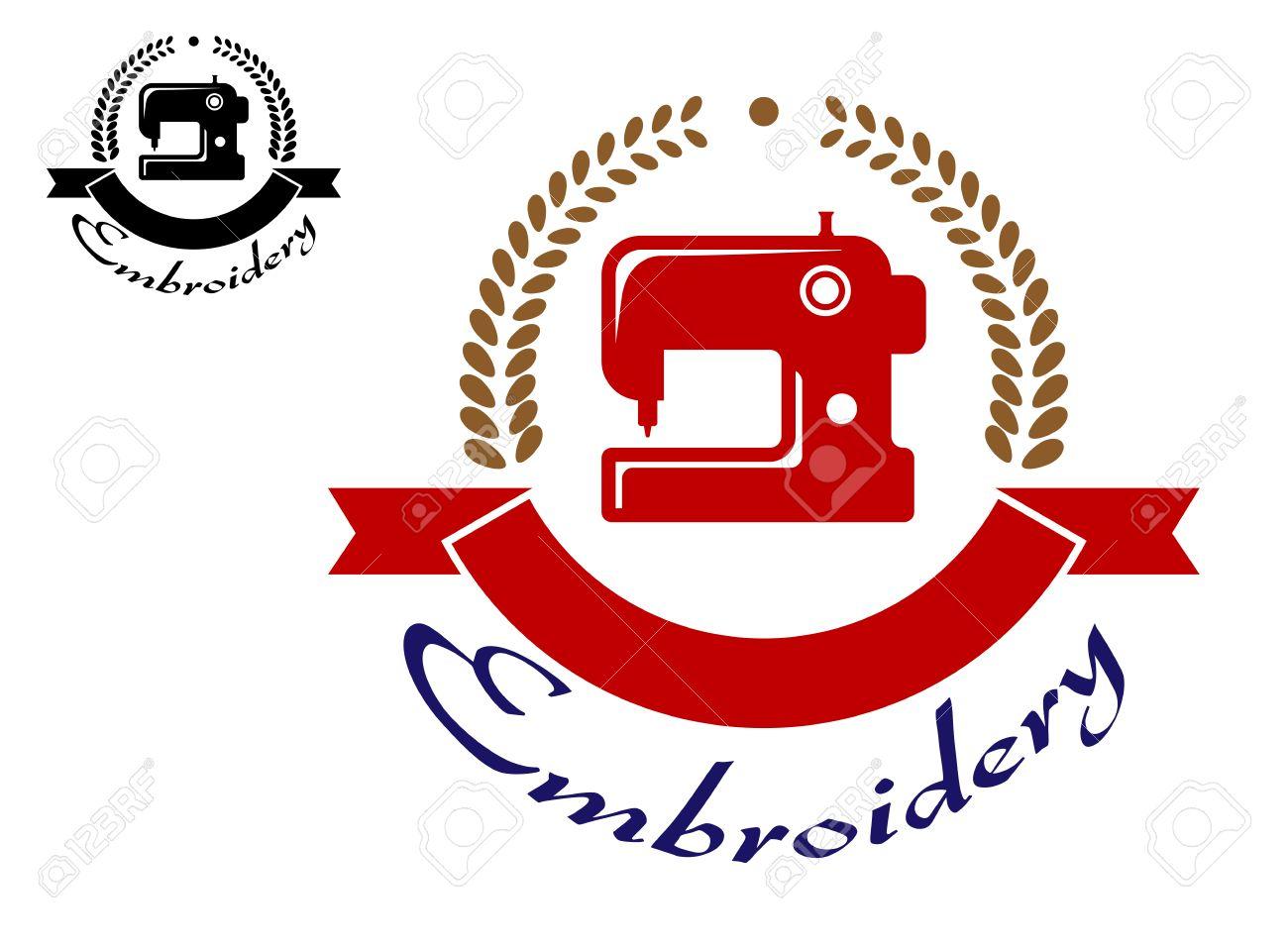 Bordado O Cosido Emblema Con La Máquina De Coser, Cinta Y Corona De ...