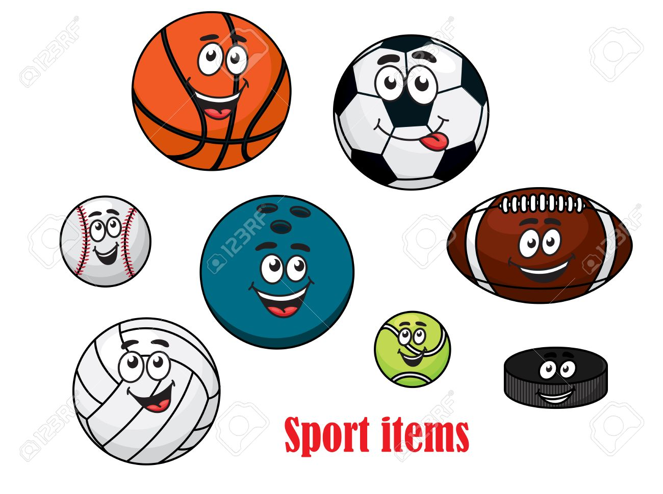 Cartoon Happy Sport Ball Characters With Volleyball Rugby Tennis Royalty Free Cliparts Vectors And Stock Illustration Image 31717154