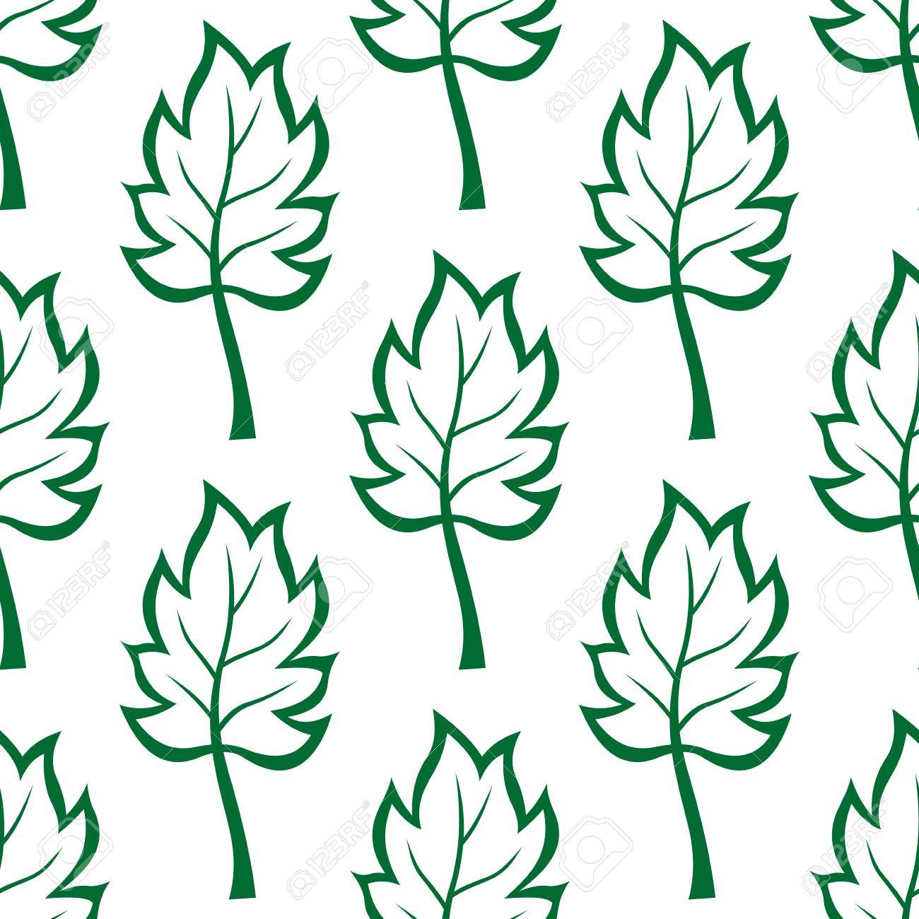 Fabric tree pattern - Seamless Background Pattern Of Green Tree Leaves For Wallpaper Tiles And Fabric Design Stock Vector