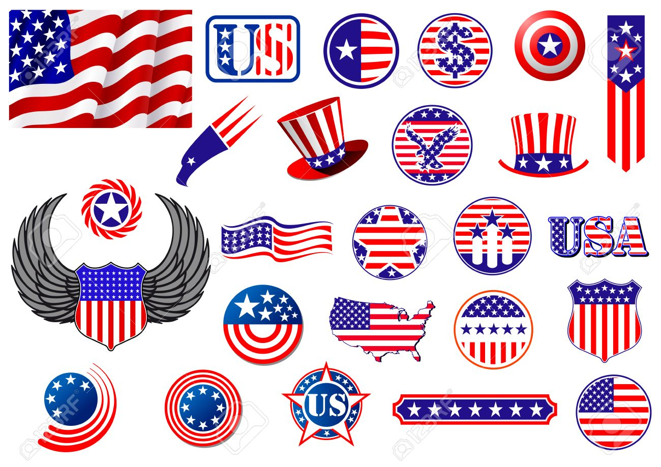 American Patriotic Badges Symbols And Labels Decorated With