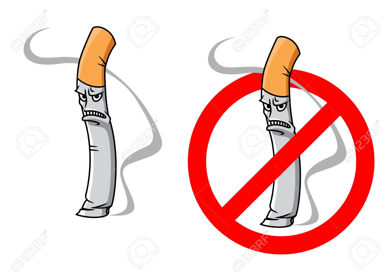 Cartoon Unhappy Cigarette Character With Smoke And No Smoking Royalty Free Cliparts Vectors And Stock Illustration Image 31975655