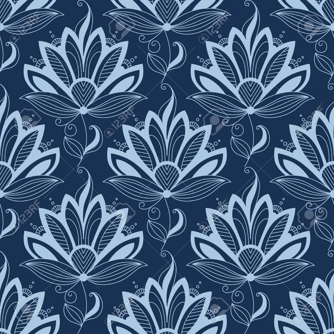 Blue Floral Seamless Pattern In Paisley Indian Or Persian Style On Dark Colored Background