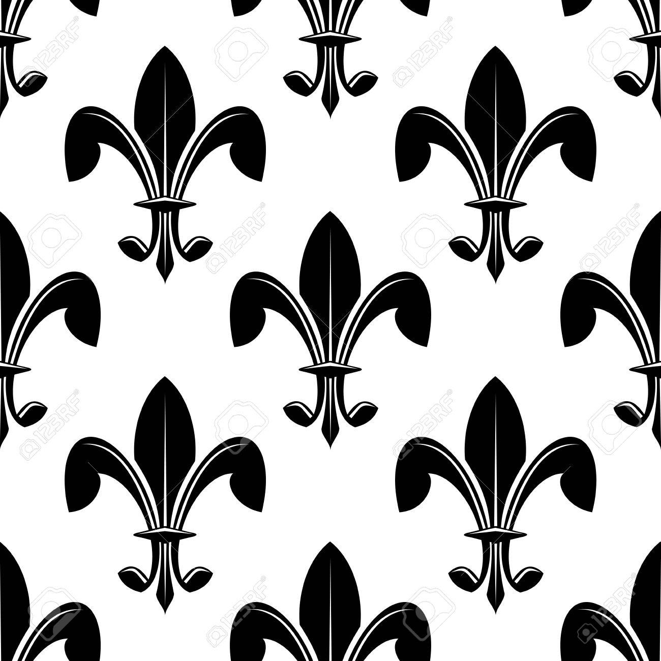 black and white seamless classic fleur de lys pattern suitable
