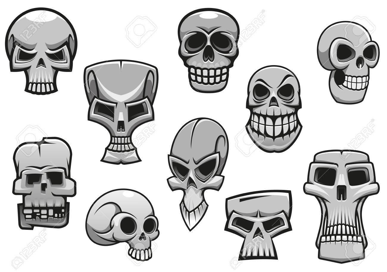 Cartoon Human Scary Halloween Skulls For Holiday Design Stock Vector 32405976