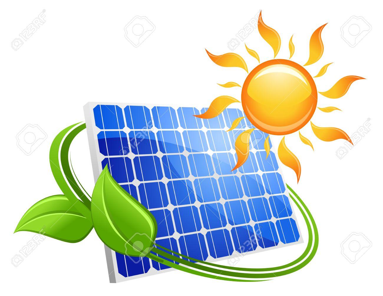 Concepto Ecológico Energía Solar Con Un Panel Fotovoltaico Azul Bajo ...