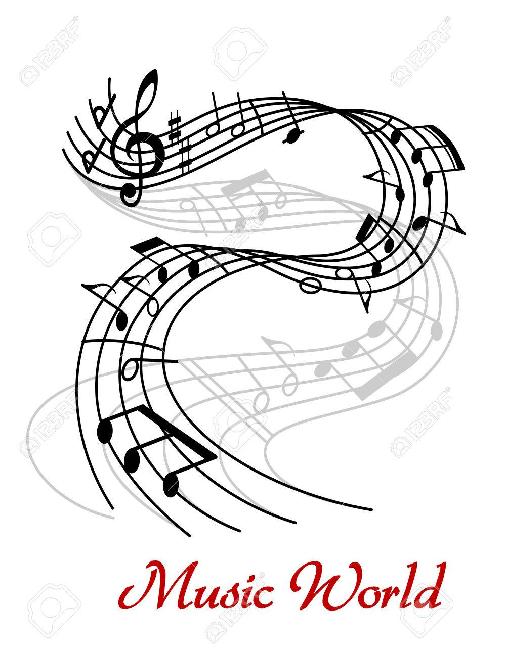 Poster design notes - Music World Poster Design With A Black And White Swirling Wave With Clef And Music Notes