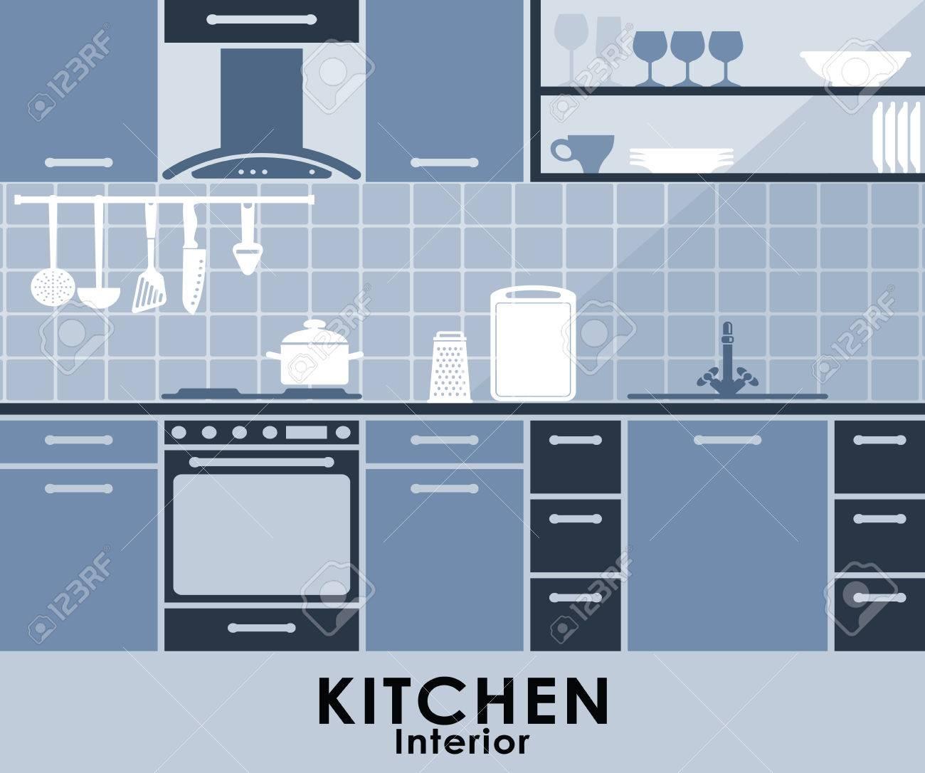 Interior De La Cocina En Azul Con Una Función En El Horno Y Campana ...