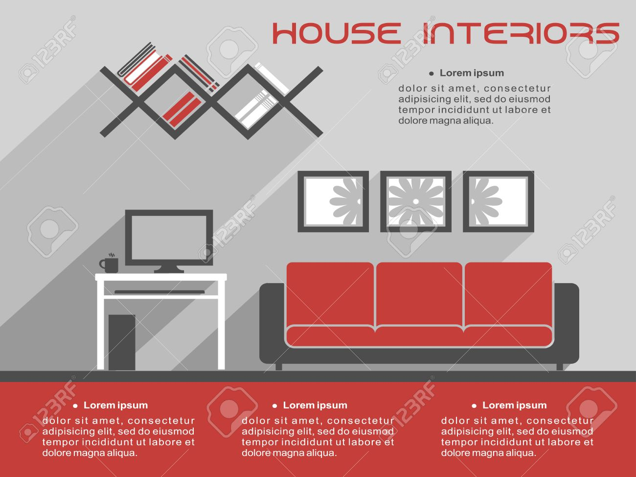 house interior design infographic template showing a living room