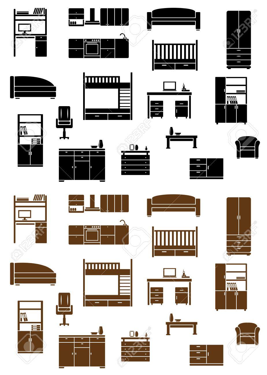 Conjunto De Vector Plana Muebles Iconos Que Representan Diversos ...