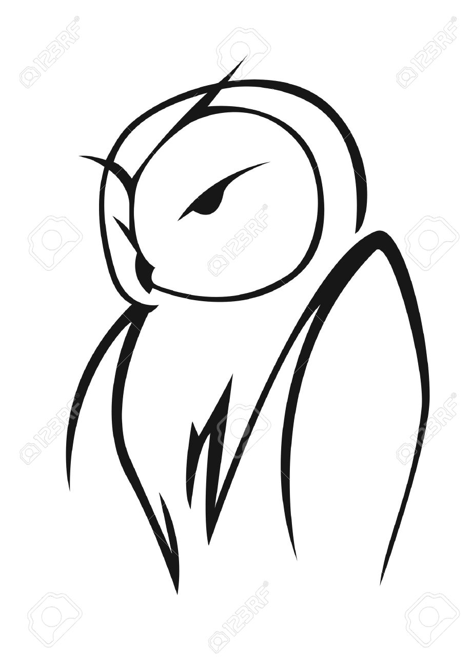 stylized black and white vector doodle sketch of an owl in side