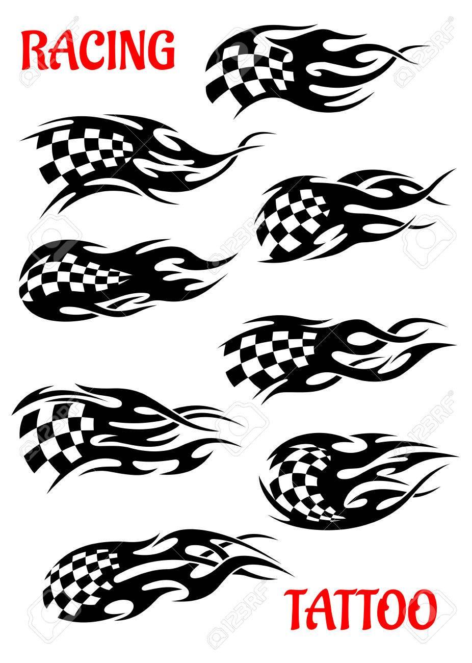 Ensemble De Vecteur De Course Automobile Tatouages De Drapeaux A