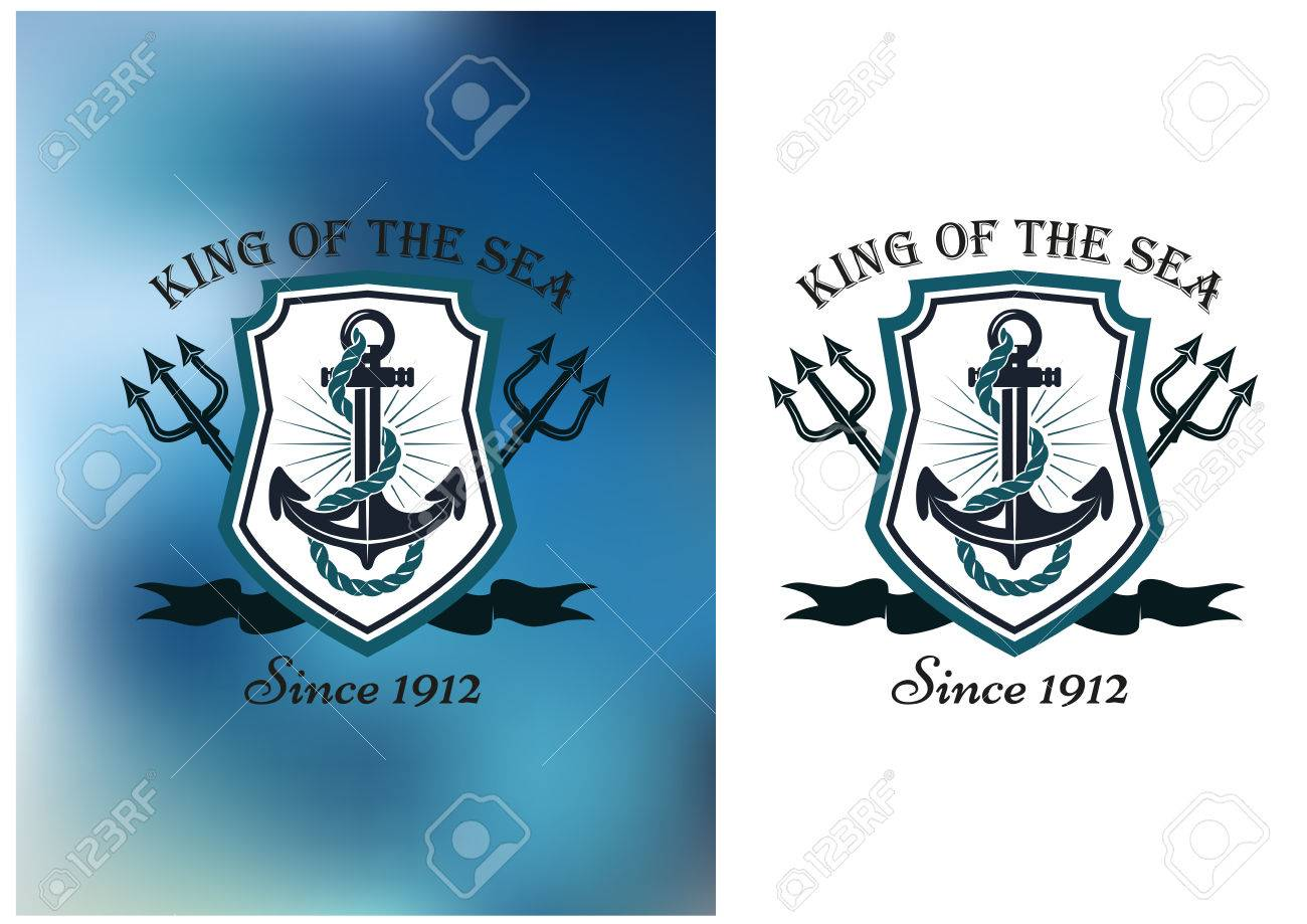 King Of The Sea Nautical Themed Badge Or Logo Showing A Ships ...