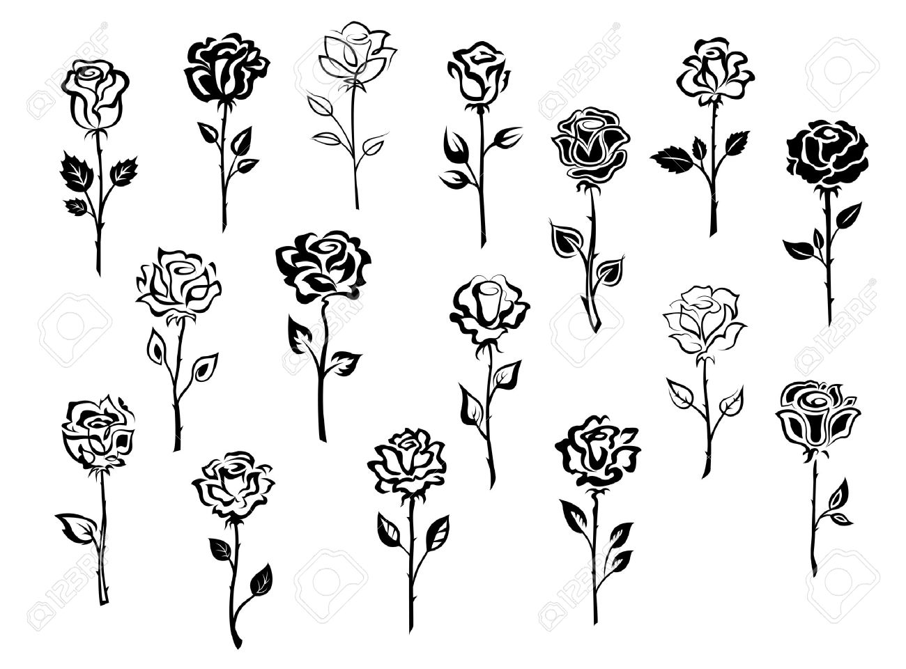 Black And White Collection Of Rose Icons In Sketch Style Each