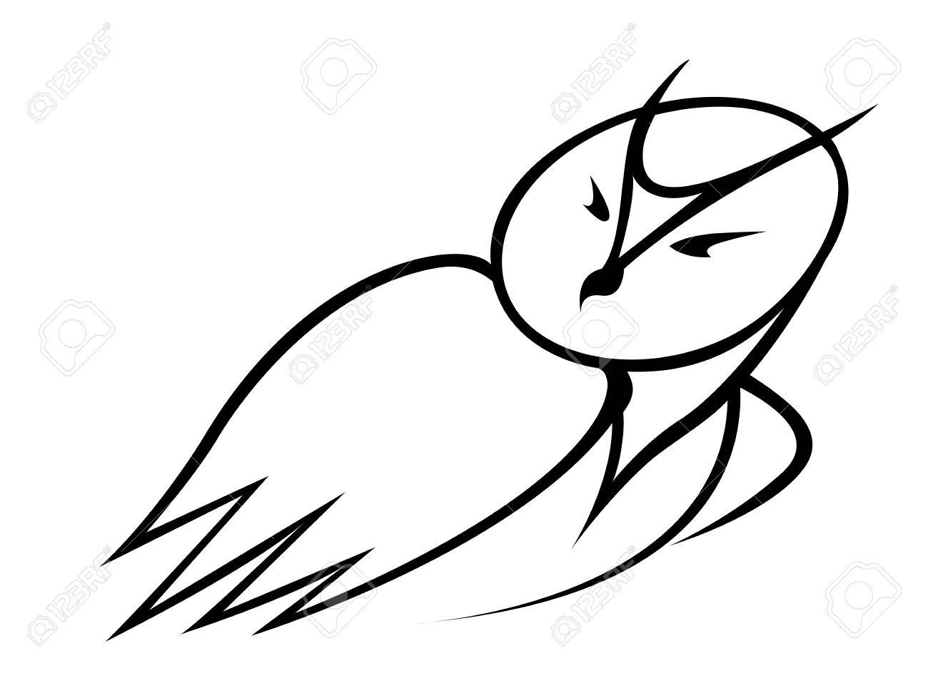 Black And White Outline Doodle Sketch Of A Cartoon Owl Looking