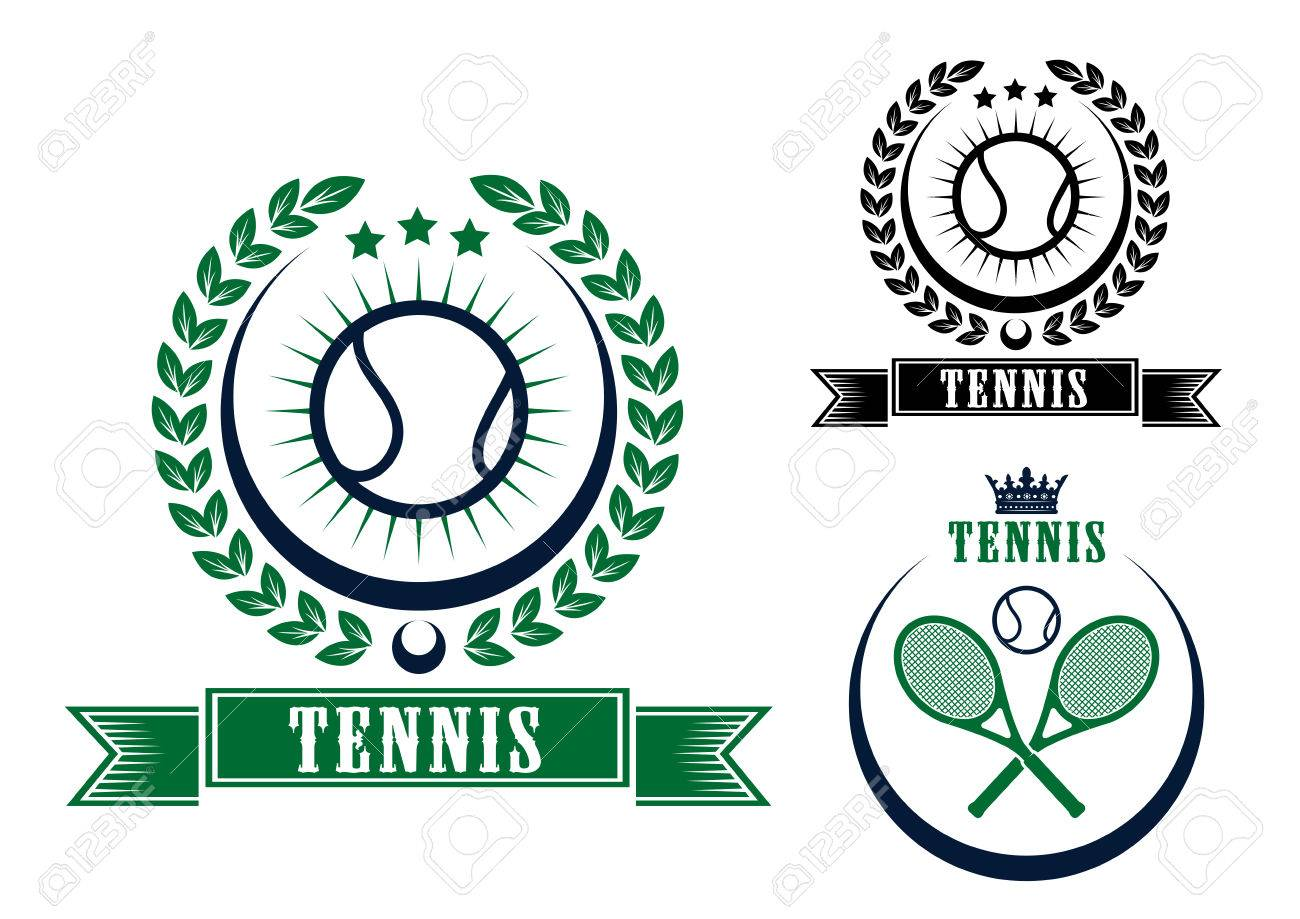 Tennis Sports Emblems Or Badges In Circular Frames, Two With ...