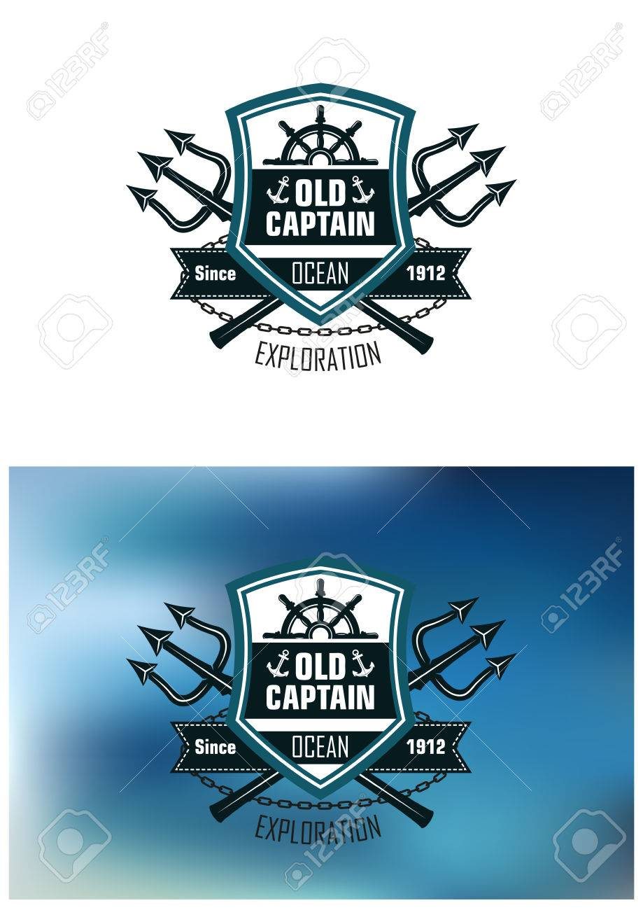 Nautical badges for ocean exploration with the text old captain nautical badges for ocean exploration with the text old captain inside a shield with a ships biocorpaavc Choice Image