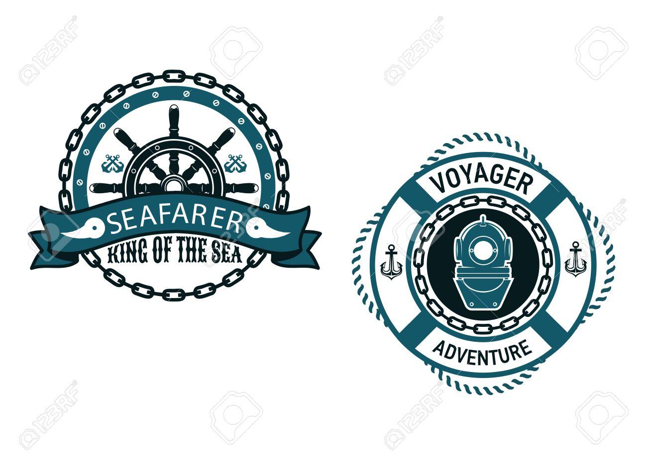 Nautischen Themen-Embleme Und Symbole Mit Seafarer, König Des Meeres ...