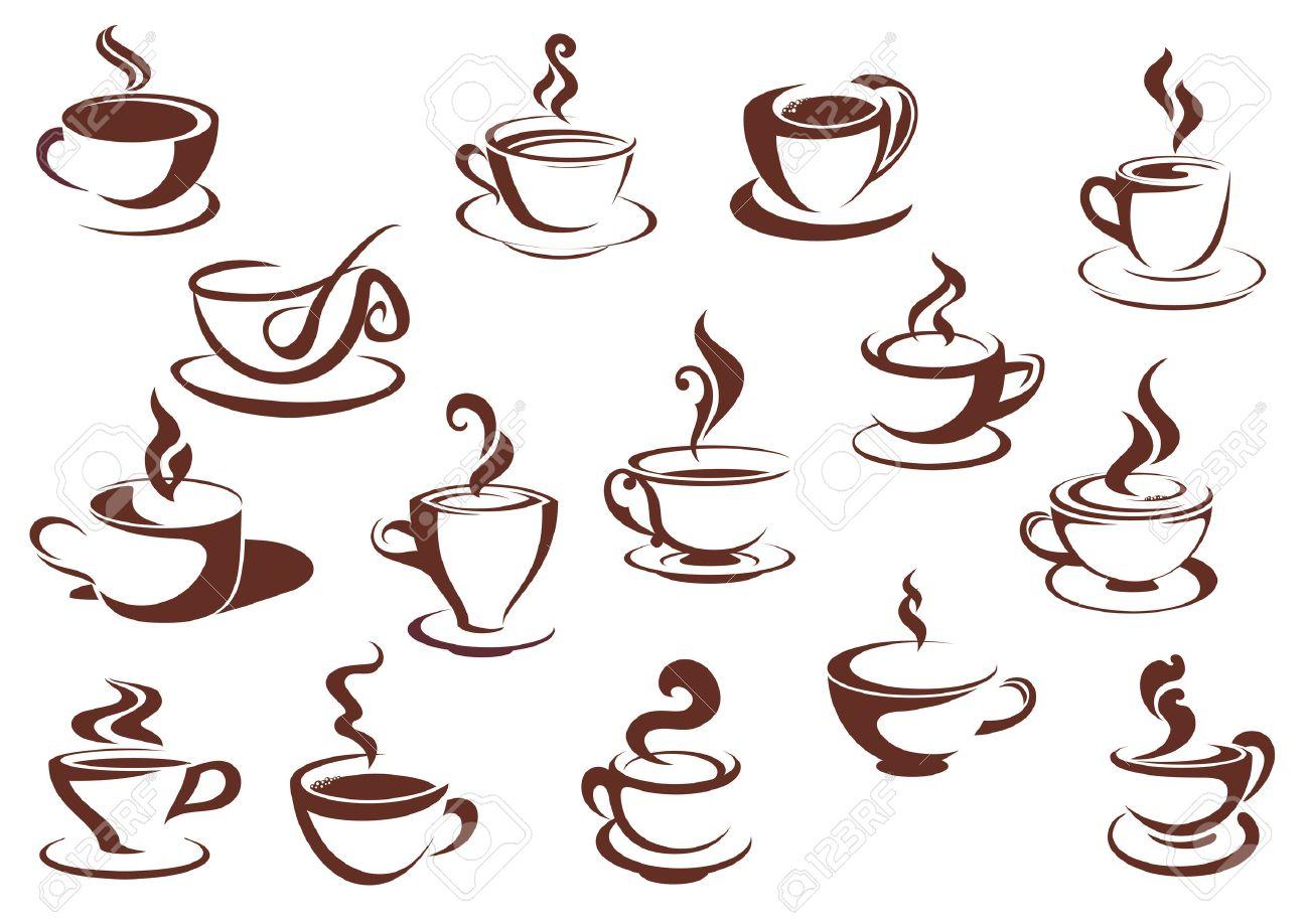 落書きスケッチ ブラウンと各種カップにコーヒー紅茶のホット飲料を湯気