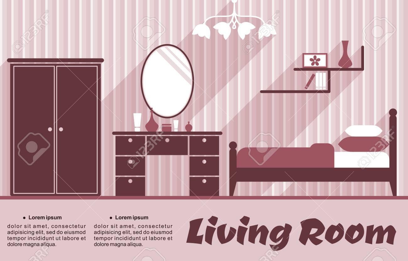 Wohnzimmer Wohnung Interieur In Pink Und Rot Farben Für Infografik ...