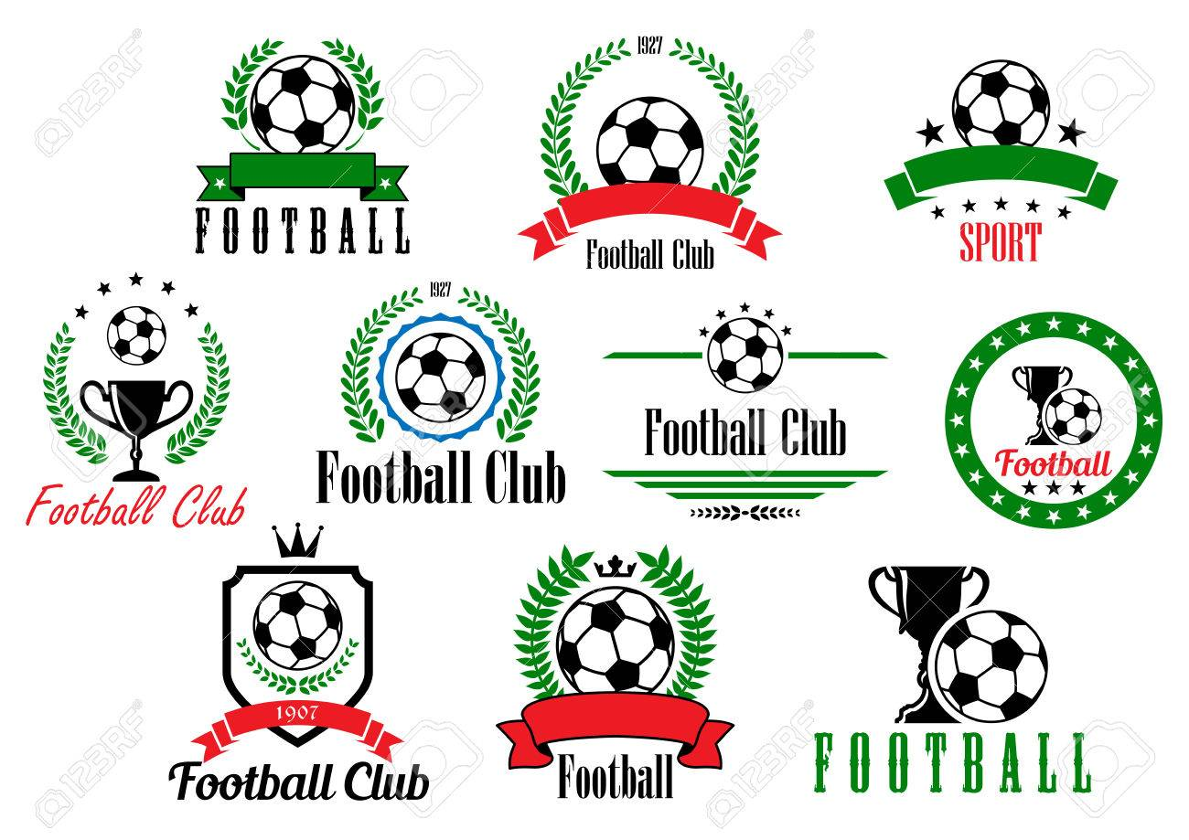 Set Of Football Club Badges And Emblems With Various Text In ...