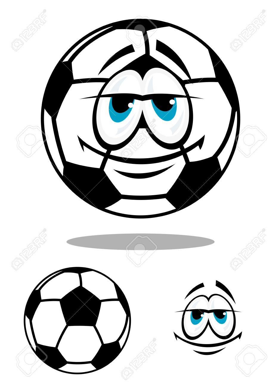 Caractère De Ballon De Football Heureux Dessin Animé En Noir Et