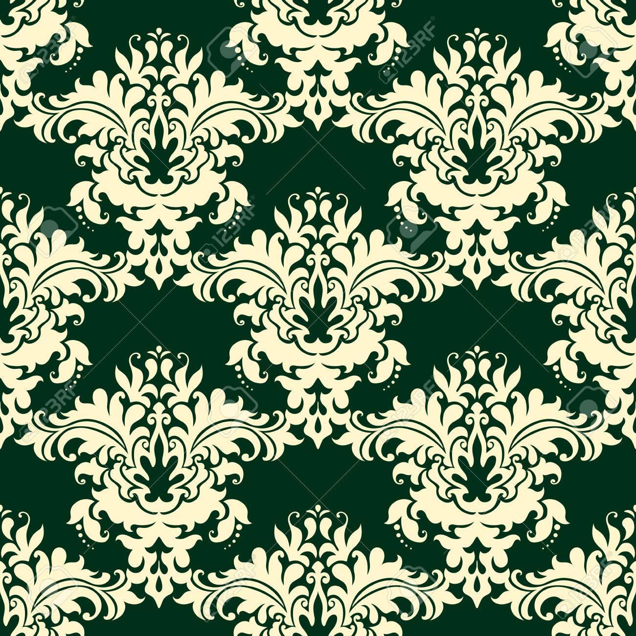 Vintage Beige Floral Seamless Pattern On Dark Green Background