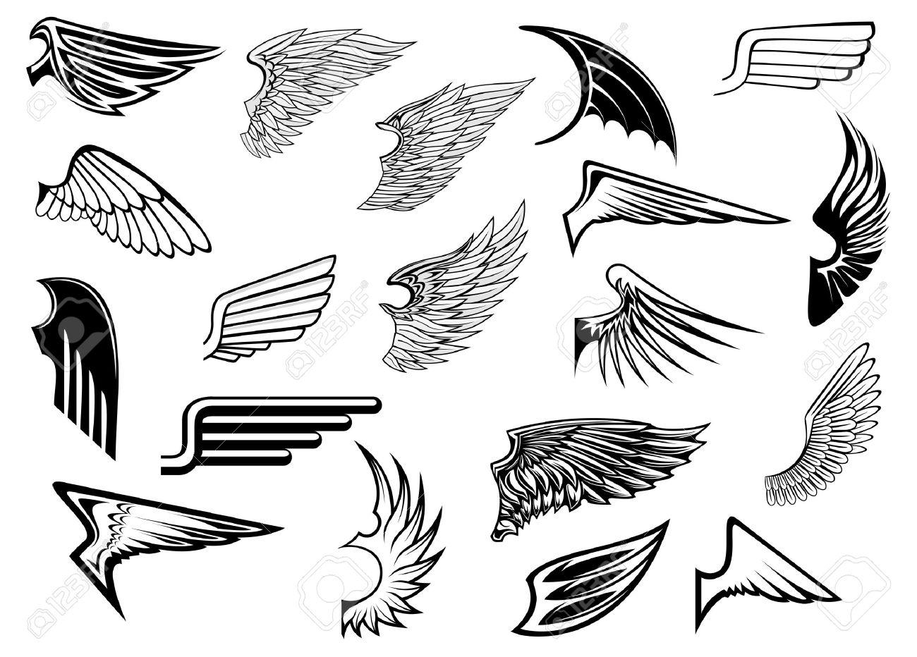 heraldic vintage birds anfd angel wings set for tattoo heraldry