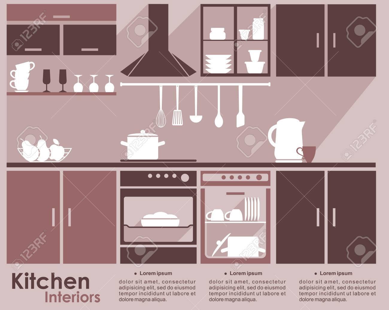 Diseño Interior De La Cocina Plantilla Infografía En Tonos De Marrón ...