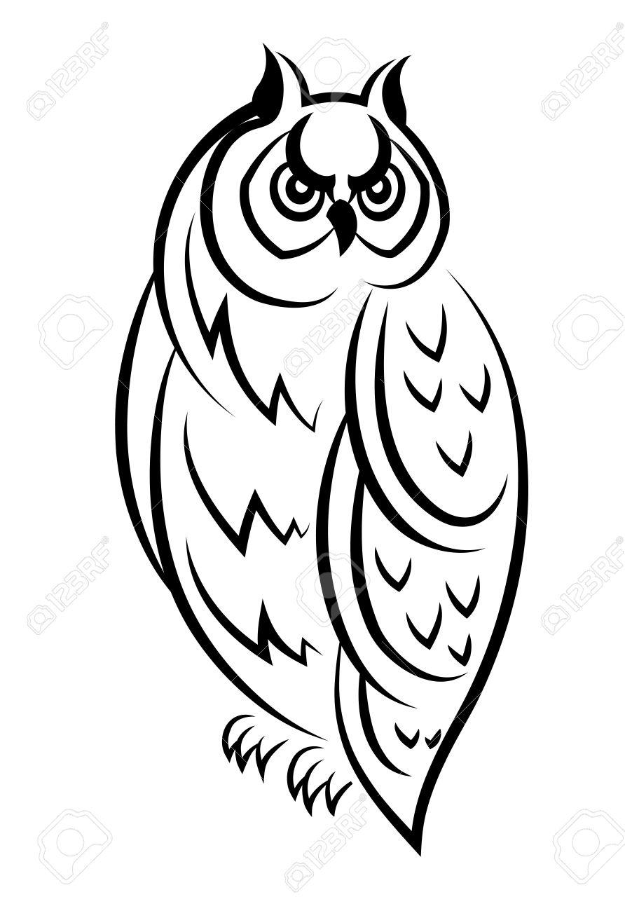 Vecteur Noir Et Blanc Dessin Dun Oiseau De Hibou Perché Regardant De Côté