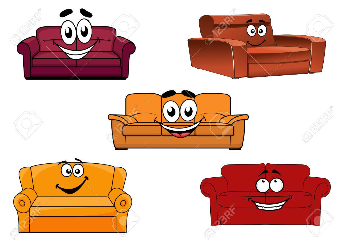 Colorful Cartoon Sofas Settees Or Couches Characters For Interior