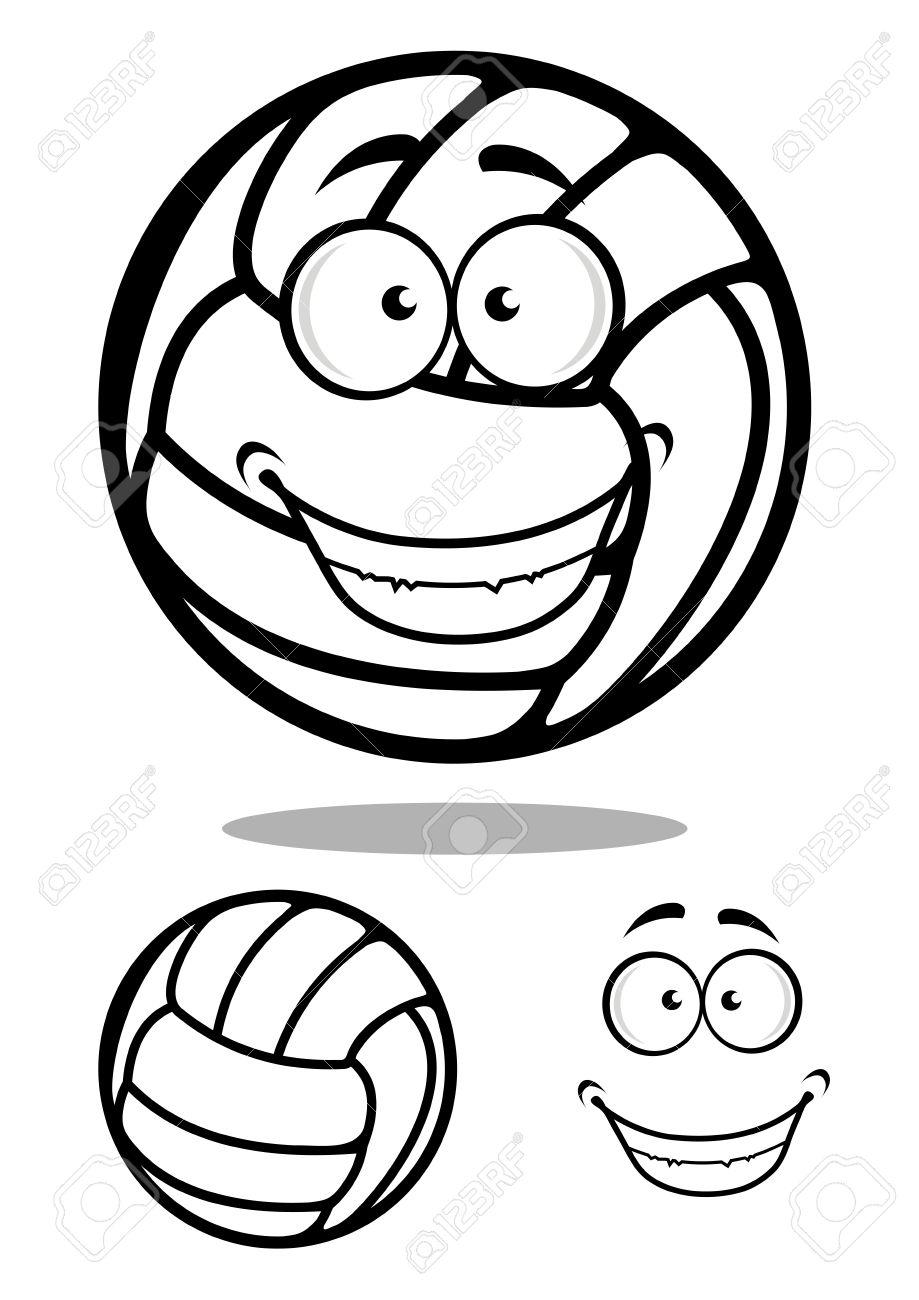 Volley Ball Heureux Dessin Animé Caractère Ballon Avec Un Visage