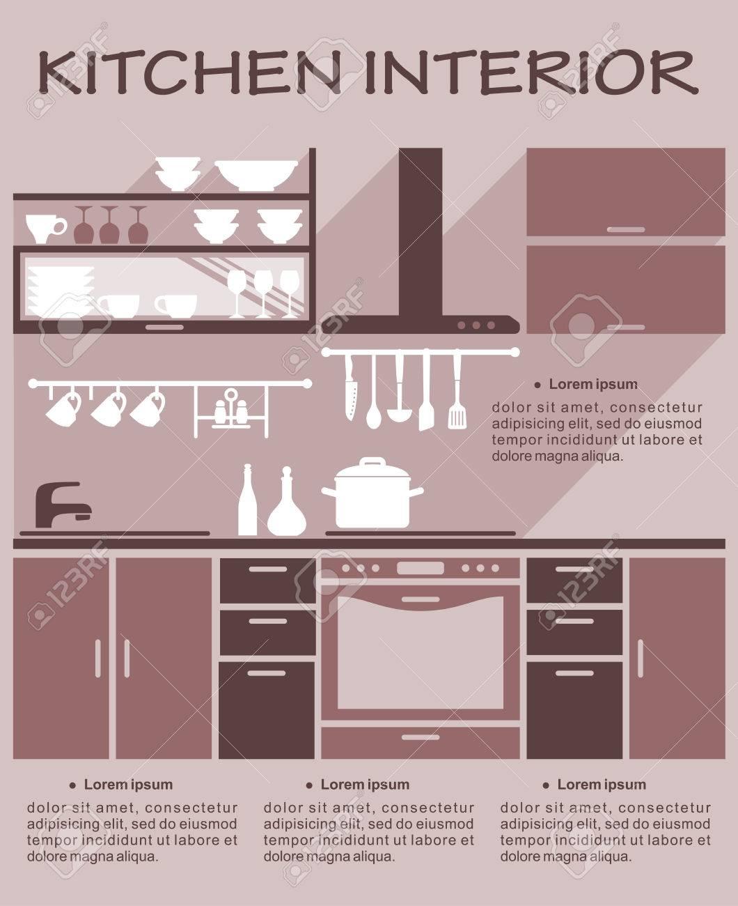 Cocina Plana Plantilla De Diseño De Interiores Para Una Infografía ...