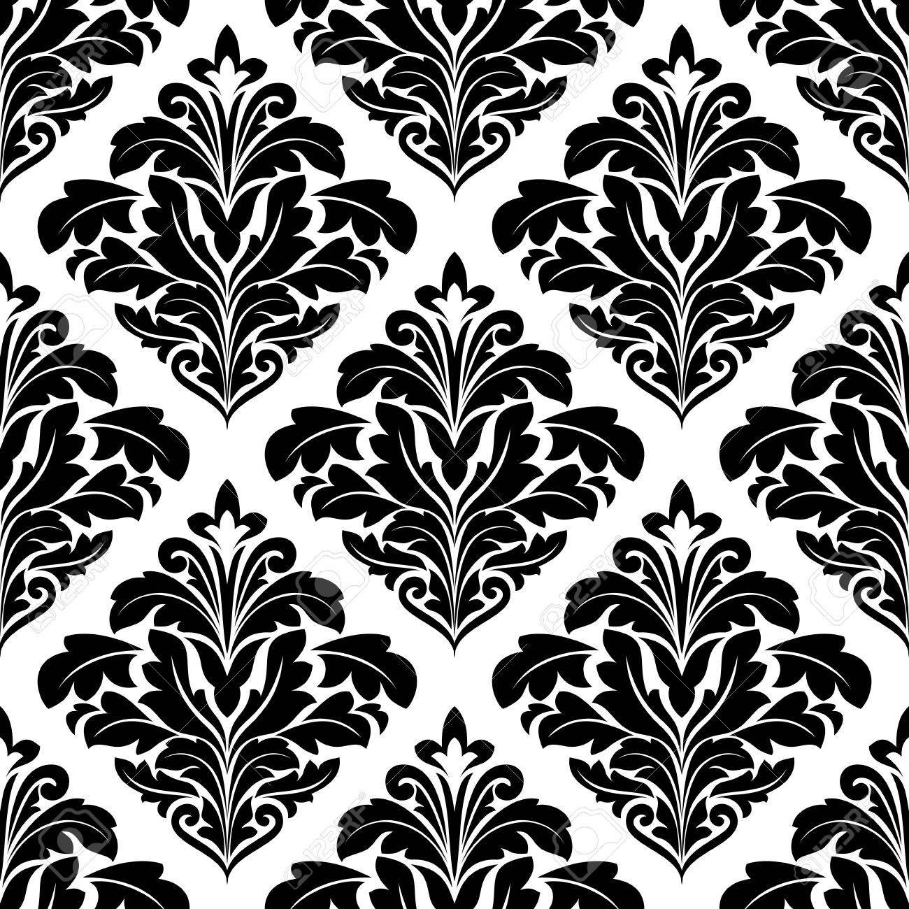 Bold Floral Arabesque Seamless Pattern With A Black Motif Arranged