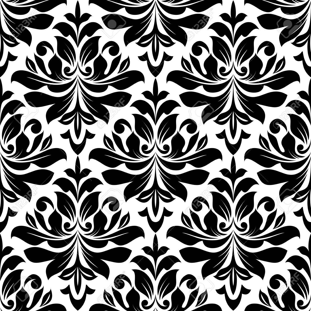 Bold Seamless Arabesque Pattern With A Black Repeat Floral Motif