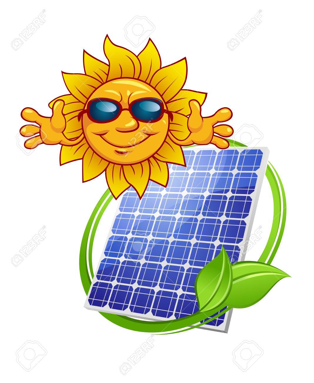 El Panel De Energía Solar De Color Con El Sol De Dibujos Animados Y ...