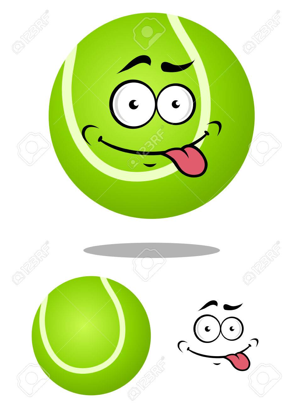Tennis ball mascot stock photos tennis ball mascot stock photography - Green Cartoon Tennis Ball With Smiling Face And Tongue Out On White Background For Sports Mascot