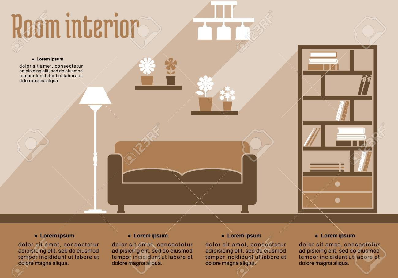 brown living room interior in flat style for house interior design