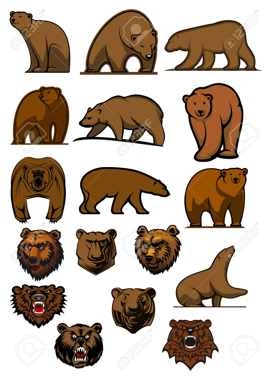 cartoon brown bears and grizzly in different poses and aggressive rh 123rf com images of cartoon bears pictures of cartoon panda bears