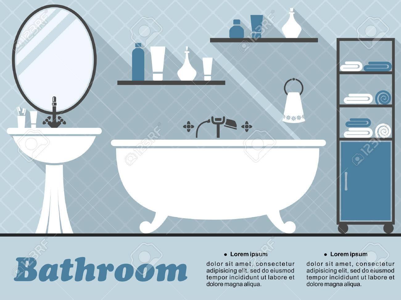 Cuarto de baño en estilo plano con bañera, espejo, lavabo, estantes y  accesorios con una larga sombra en colores azul y blanco para el diseño de  ...