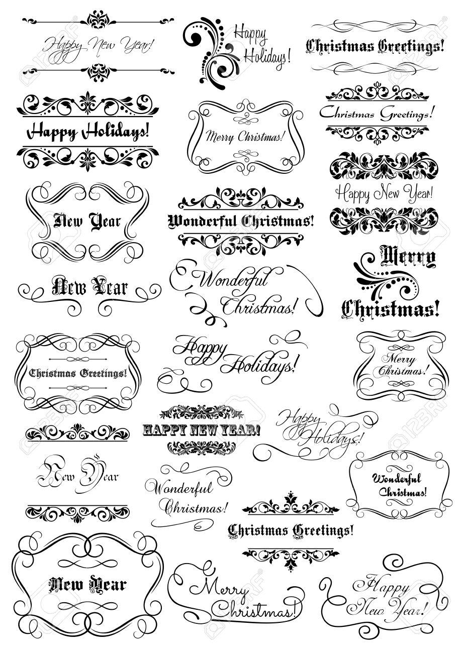 Set Frohe Weihnachten Und Happy New Year Schriften, Schriftzüge Und ...